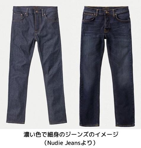濃い色で細身のジーンズのイメージ