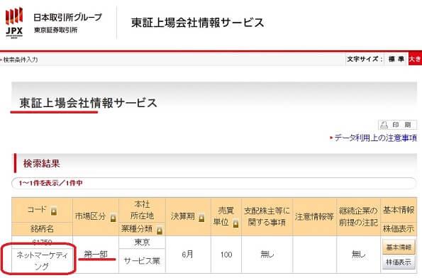 東証上場会社情報サービスでの「株式会社ネットマーケティング」の検索結果