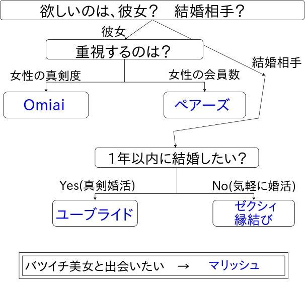 フローチャート(マッチングアプリの選び方)